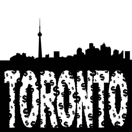 toronto: Toronto skyline with grunge dollar text illustration