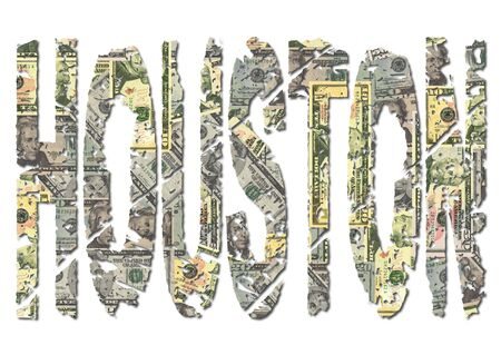 houston: Houston grunge text with American dollars illustration Stock Photo
