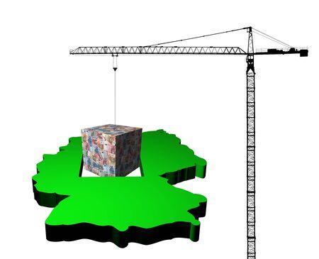 crane raising euro cube from map of Germany  illustration illustration