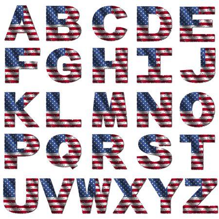 grunge Amerikaanse vlag lettertype geïsoleerd op wit illustratie Stockfoto