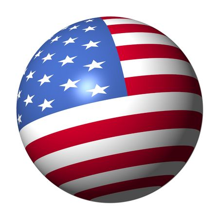 usa patriotic: American flag sphere isolated on white illustration Stock Photo