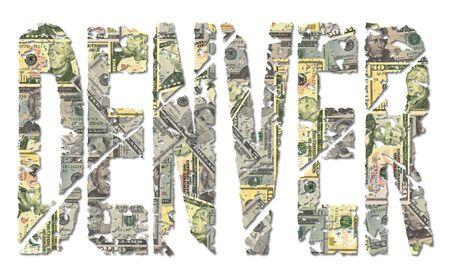 denver: Denver Grunge Text With Dollars on white illustration Stock Photo