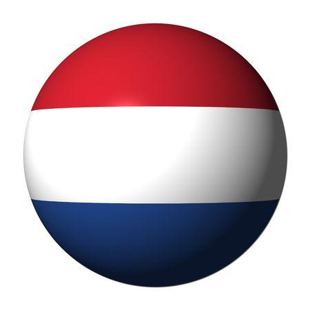 flag of netherlands: Dutch flag sphere isolated on white illustration Stock Photo