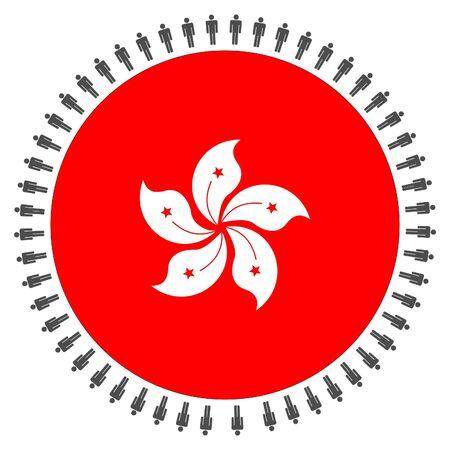 hong kong people: Round Hong Kong flag with circle of people illustration Stock Photo