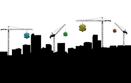 Denver skyline with cranes and dollar symbols illustration
