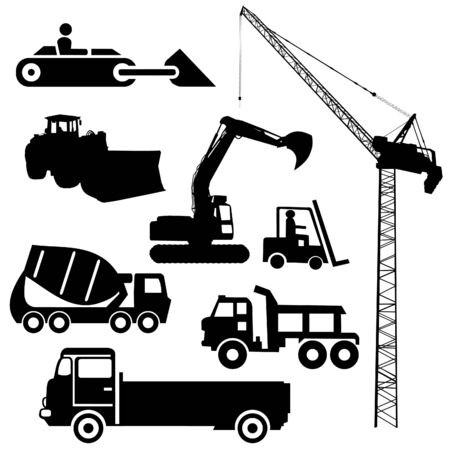 digger: Construction machinery silhouettes including crane excavator