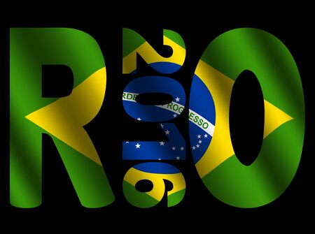 olympic symbol: Rio 2016 text with rippled Brazilian flag