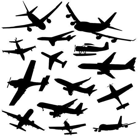 geassorteerde vliegtuig silhouetten aankomende en vertrekkende illustratie Stockfoto