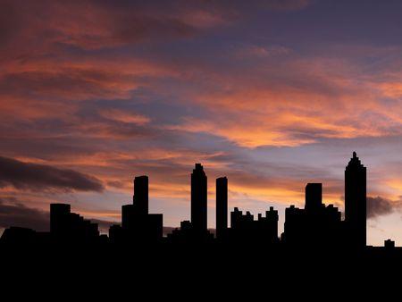 Atlanta skyline bij zonsondergang met prachtige illustratie hemel