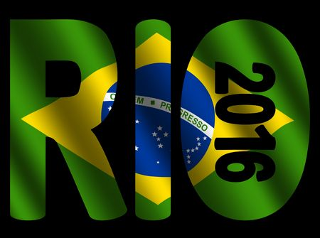 olympic symbol: Rio 2016 text with rippled Brazilian flag illustration