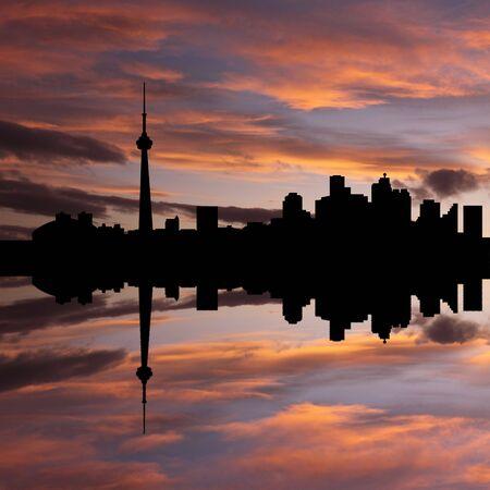 Toronto skyline reflected at sunset illustration illustration