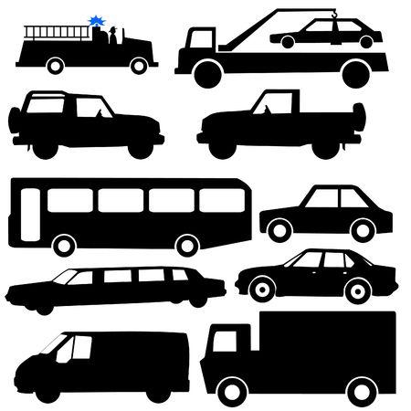 各種車両シルエット イラスト車バス トラック 写真素材