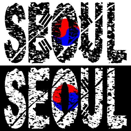 seoul: Abstract Seoul grunge text with flag illustration