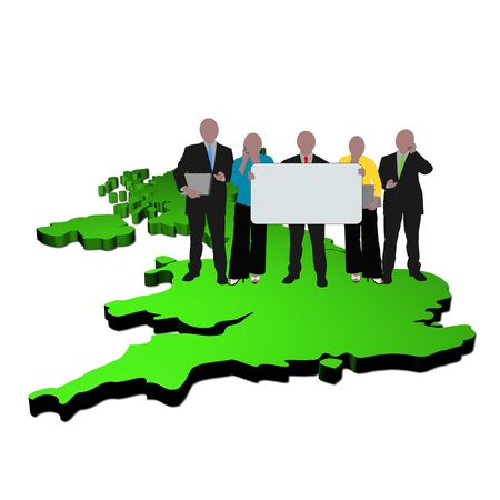 business team with sign on map of Britain photo
