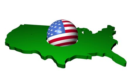 American flag sphere with map of USA illustration illustration