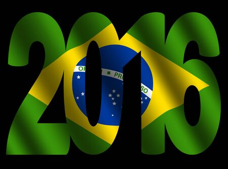 rippled: 2016 text with rippled Brazilian flag illustration