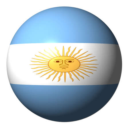 argentinian flag: Argentinian flag sphere isolated on white illustration Stock Photo