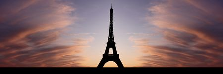 panoramic sky: Eiffel tower Paris at sunset with beautiful sky illustration Stock Photo
