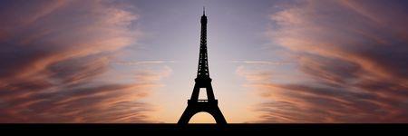 Eiffeltoren Parijs bij zonsondergang met prachtige illustratie hemel
