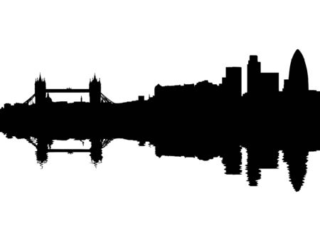 abstract london: tower bridge and London skyline reflected with ripples illustration Stock Photo