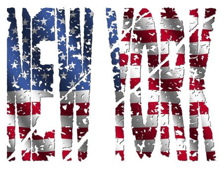 Abstract New York grunge text with American flag illustration illustration