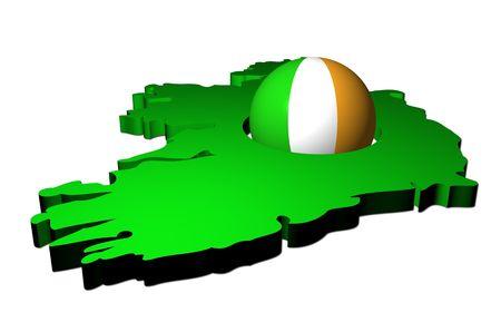 irish map: Irish flag sphere with map of Ireland illustration Stock Photo