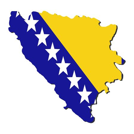 bosnian: map of Bosnia and their flag illustration