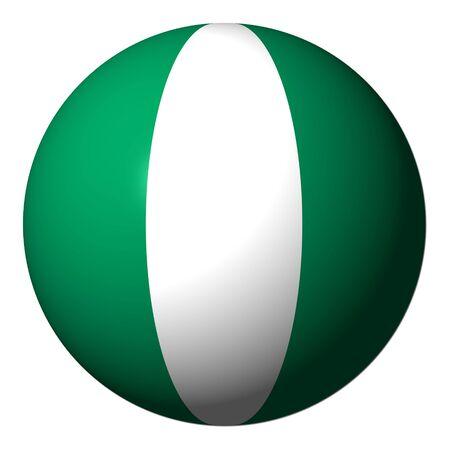 nigerian: Nigerian flag sphere isolated on white illustration