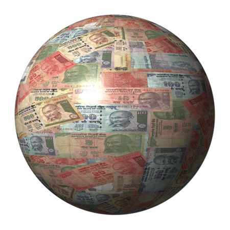 Indian Rupees sphere isolated on white illustration illustration