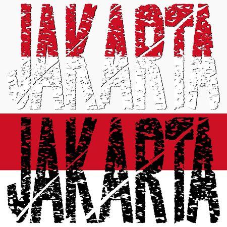 jakarta: Abstract Jakarta grunge text with Indonesian flag illustration