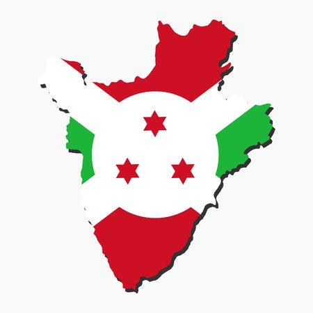 burundi: map of Burundi and their flag illustration