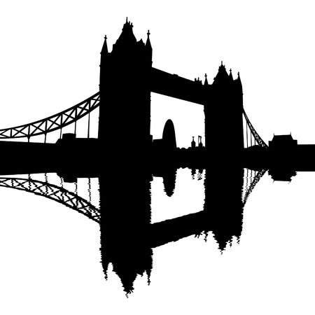london tower bridge: Tower Bridge London reflected with ripples silhouette