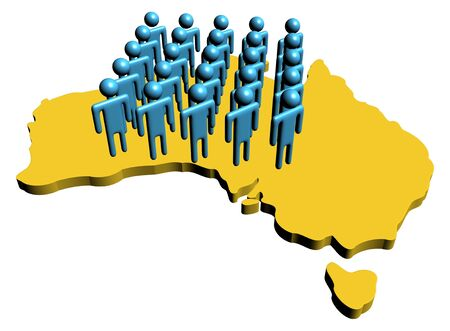 numerous: group of abstract people on map of Australia illustration