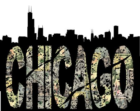 Chicago grunge dollar text with skyline illustration illustration
