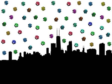 Chicago skyline with colourful dollar symbols illustration illustration