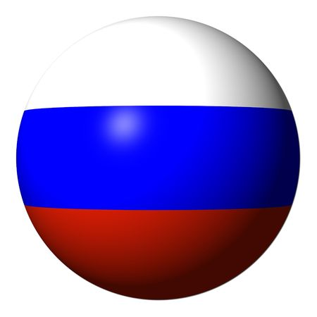 Russian flag sphere isolated on white illustration