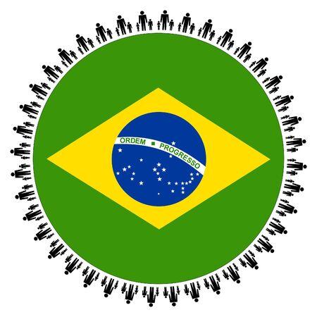 Round Brazilian flag with circle of families illustration Stock Illustration - 5792571