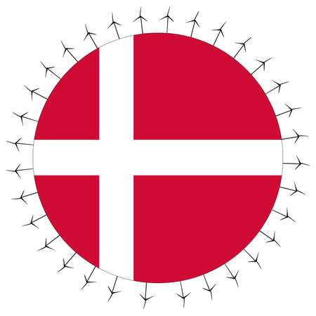 danish flag: Round Danish flag with circle of wind turbines illustration