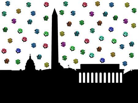 Washington DC skyline with colourful dollar symbols illustration illustration