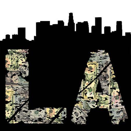angeles: Los Angeles grunge dollar text with skyline illustration