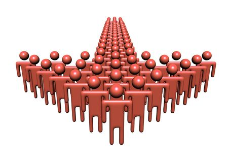 populations: group of abstract people in shape of arrow illustration