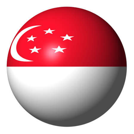 Singapore flag sphere isolated on white illustration Stock Photo - 5802313