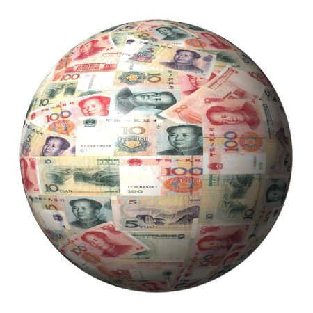 yuan: Chinese Yuan sphere isolated on white illustration Stock Photo