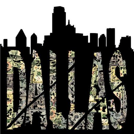 Dallas grunge dollar text with skyline illustration illustration