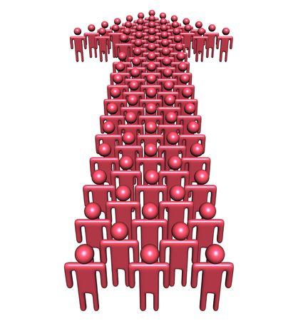 groep mensen in abstracte vorm van een pijl illustratie Stockfoto
