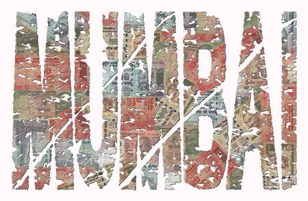 mumbai: Mumbai grunge text with Indian Rupee illustration