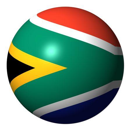 南アフリカの国旗球の分離白図