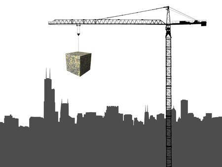 sears: Chicago skyline and Crane with dollar cube