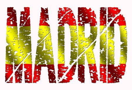 madrid: Abstract Madrid grunge text with Spanish flag illustration