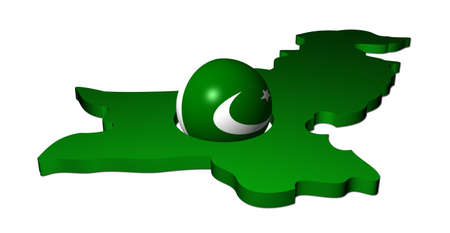 pakistani pakistan: Pakistani flag sphere with map of Pakistan illustration